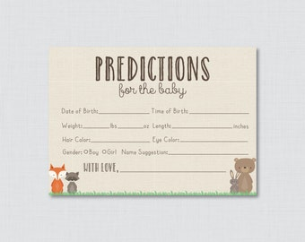 pink and blue baby shower prediction cards instant