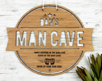 Personalised Man Cave Bamboo Wall Hanging