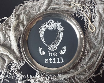 BE STILL Chalkboard Tray Sign French Style Angel Cherub Swag Kitchen Silver Serving Tray Wedding Romantic Shabby Cottage Farmhouse Decor
