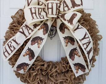 Hey Y'all Burlap Ruffle Wreath;country wreath;Front door wreath;Home Decor;country;Burlap