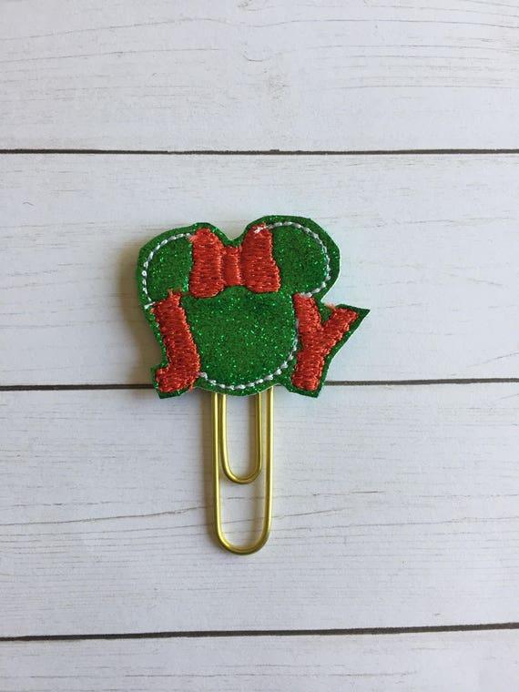 Girl Mouse Joy planner Clip/Planner Clip/Bookmark. Christmas planner clip. Holiday planner clip. mouse planner clip. Joy planner clip.