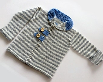 Hand Knit Baby Sweater / Cardigan in Off White and Light Grey Stripes, Soft Merino Wool, Newborn Baby Cardigan for Infant of 3-6-9-12 months
