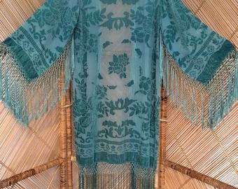 kimono jacket,devore kimono,burnout kimono,boho jacket,devore kimono,Dip dyed kimono,turquoise kimono