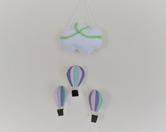 hot air balloon and cloud wall hanging