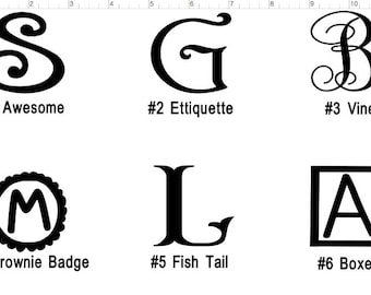 Personal Vinyl Decal, single letter,