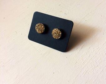 Gold Druzy Stud Earrings/ Soldered Earrings/Gold Titanium Earrings/ Bohemian Earrings/ Hippie/Indie/ Witchy Earrings/