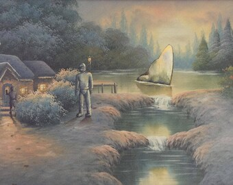 The Day the Earth Stood Still Parody Painting - Enhanced Repurposed Altered Thrift Art - Print, Poster, Canvas - Funny Crashed Spaceship UFO
