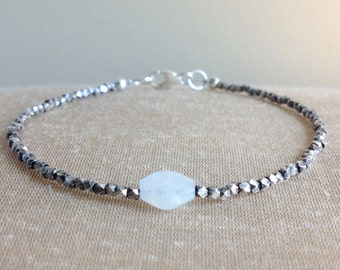Dainty Moonstone and Oxidized Fine Silver Bracelet, Gemstone Bracelet, Stacking Bracelet, June Birthstone, Karen Hill Tribe Bracelet