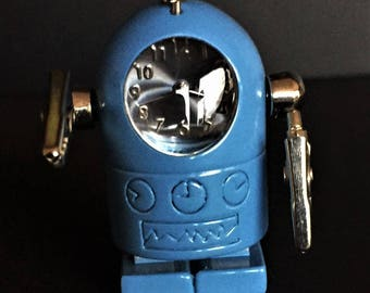 Vintage Blue Diecast Robot with Clock face and Moveable Posable Clip Arms