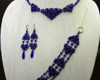 Cobalt Glass Bead jewelry set