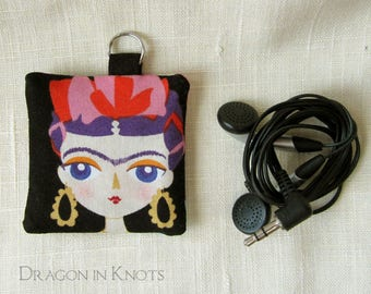 Earbud Holder - Mini Keychain Pouch for Guitar Picks and Other Small Items, black cotton, portrait of a woman, purple hair