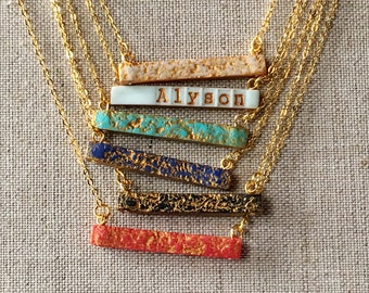 Name or Date Bar Necklace, Color Reversible Horizontal Stamped Bar Necklace, Red, Blue, Turquoise, Black, Aqua, Cream and Gold, 2 in 1