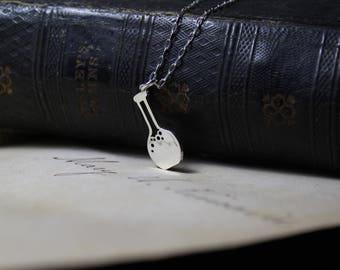 Boiling Flask Hand Cut Sterling Silver Science Necklace