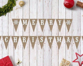 Merry Christmas Banner / INSTANT DOWNLOAD / Printable / Christmas / Burlap / Snowflake / DIY / Photo Prop