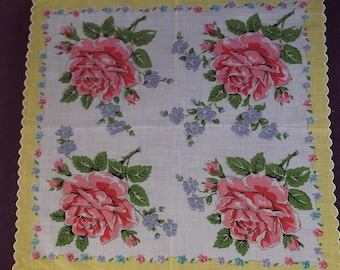 Vintage 1950s Pink Rose with Yellow Border Handkerchief Hanky, Mid Century Large Hanky with Pink Flowers Light Purple Florals, Lovely!