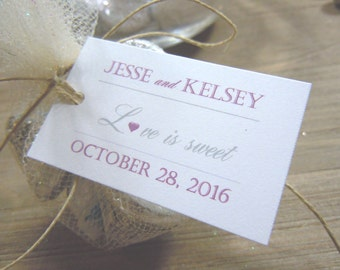 Love is Sweet Favor Tags Wedding Favors - Favor Tags - Thank you Tags - Personalized Favors - Bridal Tags - Gift Tags - Wedding Gift Tags