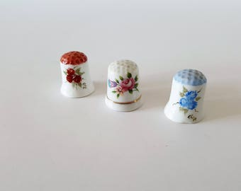 Lot of 3 Ceramic Thimbles Instant Collection of Thimbles Hand Painted Thimbles Sewing Notions Sewing Room Decor