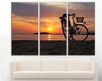 Bike Sunset Beach Ocean Wall Art Large Canvas Print Decor
