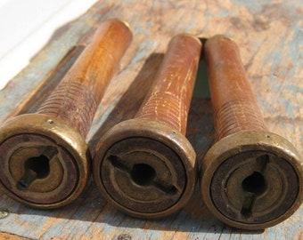3 Wood Spools Antique Industrial Thread Bobbins