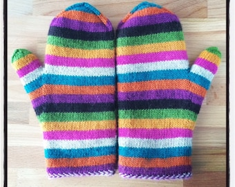 Super Simple Stripey Mittens (of Epic Awesomness) **PATTERN ONLY**