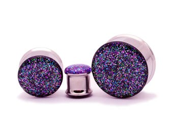 "Embedded Galaxy Glitter Plugs gauges - 00g, 7/16"", 1/2, 9/16, 5/8, 3/4, 7/8, 1 inch"