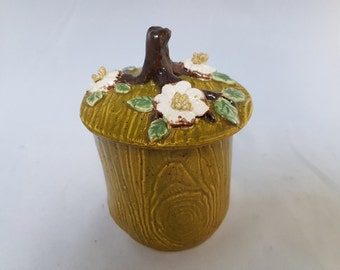 Ceramic dogwood flowers lidded jar olive, white and green unique hand made