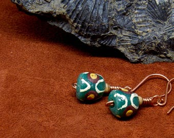African Trade Bead, Wood and Sterling Silver Earrings, Tribal Earrings, Green Brown Earrings, Drop Earrings, Dangle Earrings, E263
