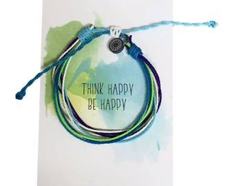 Think Happy Be Happy, Friendship Bracelet, Threaded Bracelet with sun charm, waterproof bracelet adjustable boho bracelet, wax cord bracelet