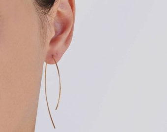 Arc Ear Threaders, Geometric Earrings, Open Hoops Threader In 14k Gold Fill, Hoop Earrings, Gold Hoop Earrings, Gold Arc Earrings