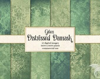 Green Distressed Damask Digital Paper, rustic vintage textured scrapbook paper, scrapbooking grunge textures, mint sage green download