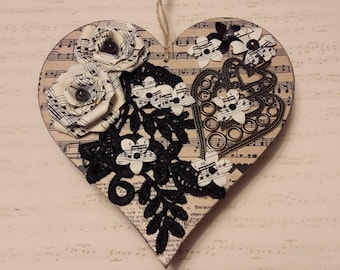 Music themed decorated heart
