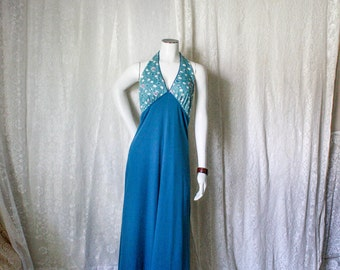 Blue Halter Backless Maxi Dress - M