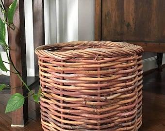 Willow Tree Planter / Woven Willow Planter / Small Tree Planter / Magazine Basket / Dog Toy Basket / Basket Planter / Vintage Willow Basket