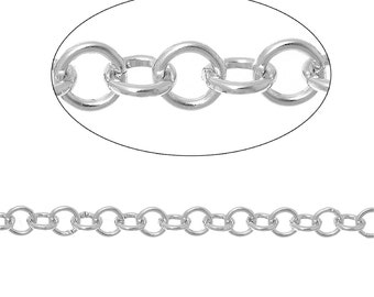 2 meters Silver ALUMINUM Round Cable Link Chain, Rolo Chain, 5mm links  fch0305