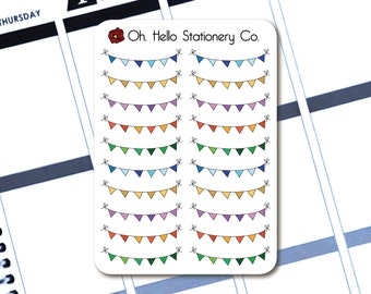 Flag Bunting Stickers  - Planner Stickers for Erin Condren Life Planners - M2