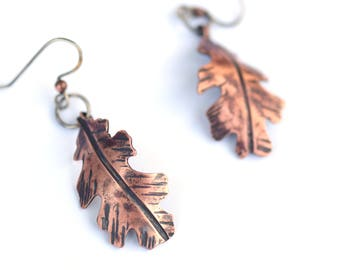 Oak Leaf Earrings, Botanical Jewelry, Copper Leaves with Sterling Silver Accents, Nature Jewelry, Textured Copper Bohemian Earrings