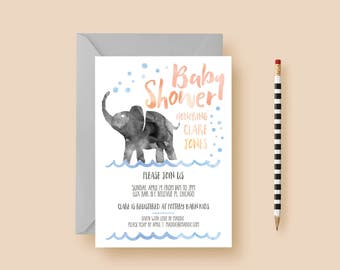 Watercolor Elephant Baby Shower Invitation - Baby Shower Invite - Pink, Blue, Animal, Waterhole - Printable or Printed - FREE SHIPPING