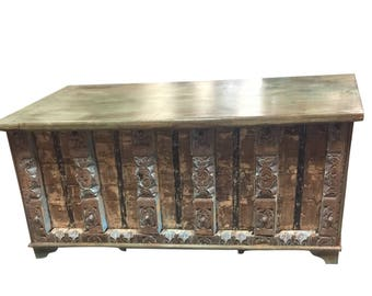 Vintage Trunk Distressed Natural Wood Bench Table Antique Chest Old Doors Rustic FARMHOUSE Bohemian Interior CLEARANCE SALE