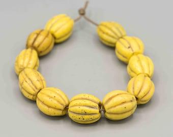 "Antique Melon ""Blini Blini"" Beads 11 Beads on 8 1/2"" SKU-TB-435"