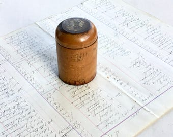 Antique Wood Treen Barrel Ink Container Vintage