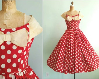 Vintage 1950s Fred Perlberg Red Polka Dot Party Dress | Size Small