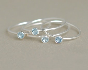 aquamarine ring. march birthstone ring. ONE stackable birthstone gemstone ring. sterling silver. mothers ring. stacking ring. silver ring.