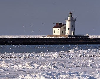 Cleveland Lighthouse in the Winter Fine Art Photo Snow Lake Erie Blue Sky Day