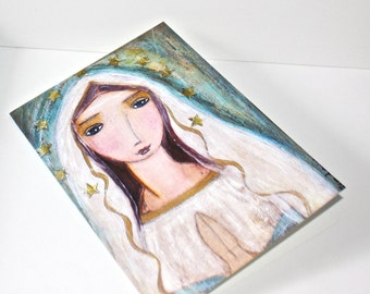 Our Lady of Lourdes - Greeting Card 5 x 7 inches - Folk Art By FLOR LARIOS