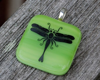 Dragonfly Fused Glass Pendant Handmade Jewelry Apple Green, Bright Chartreuse