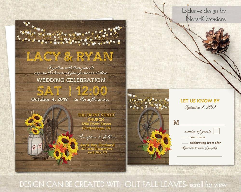Western Wedding Invites: Western Wedding Invitation Set Sunflower Wedding Mason Jar