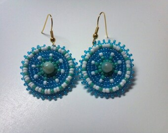Native Inspired Rosette Beaded Earrings, Pierced Gifts For Her, Circle Beaded Rosettes, Stone Glass Beaded Jewelry, Boho Hippie Gypsy