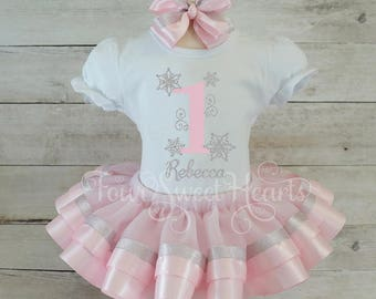 Winter Onederland Birthday Outfit, Light Pink Snowflake Birthday Outfit, Girl First Birthday Outfit, Silver Snowflake, Winter Wonderland