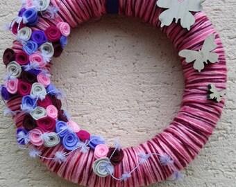 Door wreath or decoration: flight of butterflies