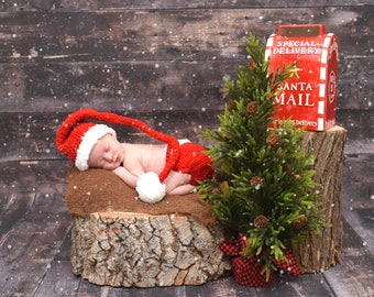 Santa Claus Christmas Xmas Infant Newborn Baby Outfit Beanie Hat Diaper Cover Crochet Photography Photo Prop